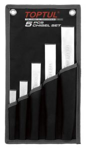 Ribbed Flat Chisel Set in wallet 5Pc