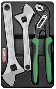 3Pc Adjustable Wrench & Pliers Set Tray