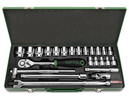 "1/2""Dr Socket set 24Pc (metric) metal case"